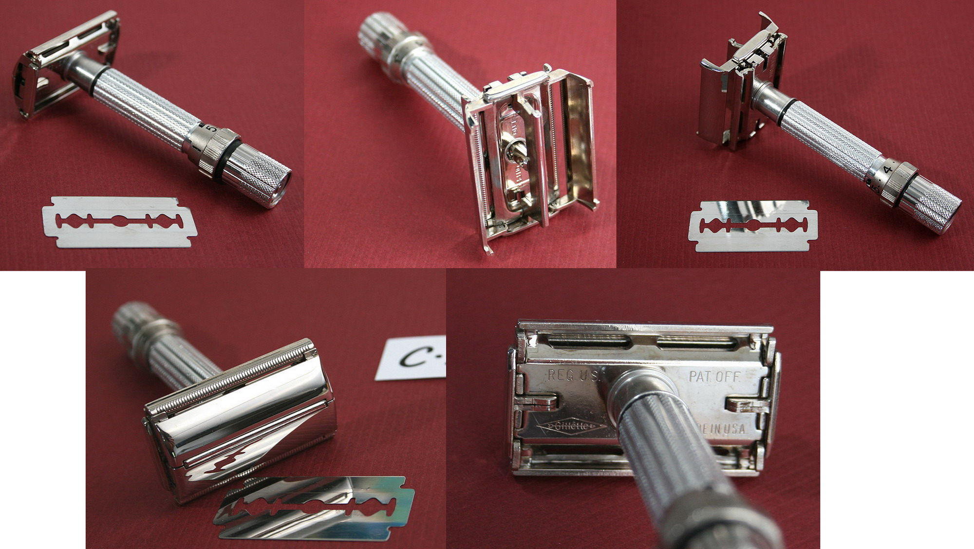 """Adjustable family"" de chez Gillette 1960s%20Prototype195%205%20settings%20from%20Aric"